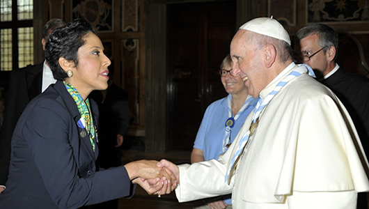 pope francis meets with girl scout leaders in rome