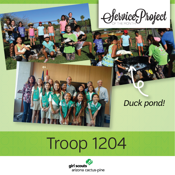 service project of the month girl scouts bring hope
