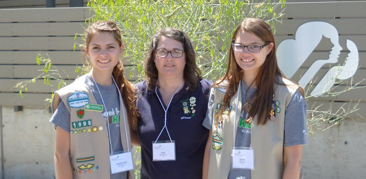 Deb McNelly with girls in her troop